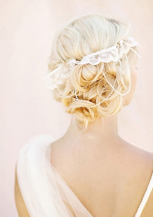 Curly updo with lace headband
