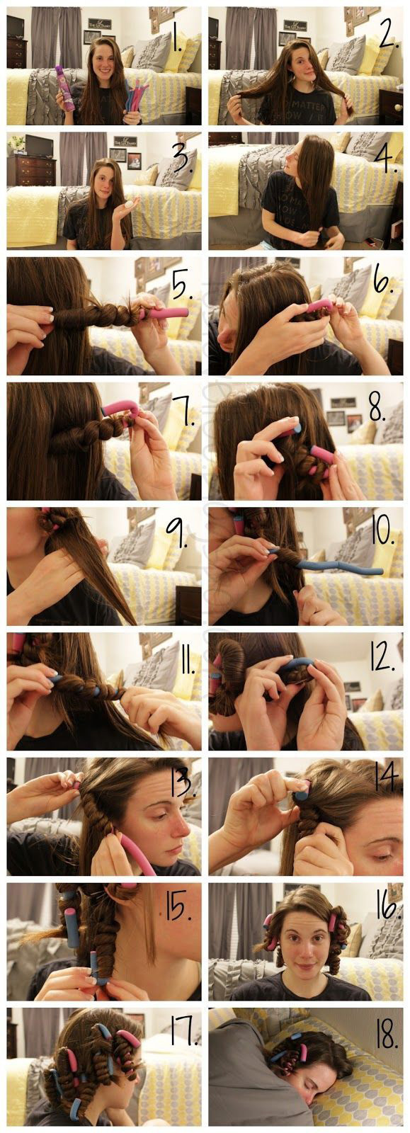 Use soft rollers for curls overnight