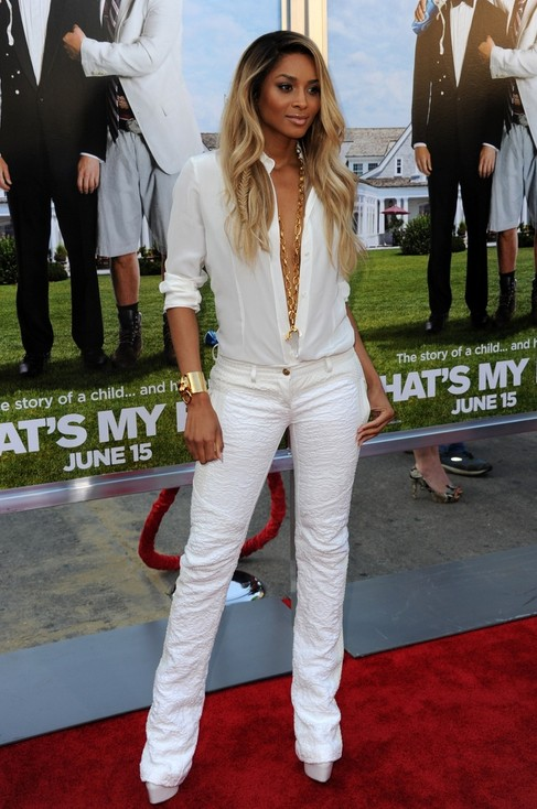 White outfit for spring, cool white, low-cut pantsuits