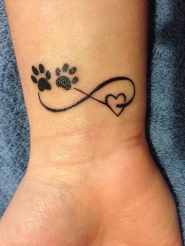 Paw and heart shape tattoo
