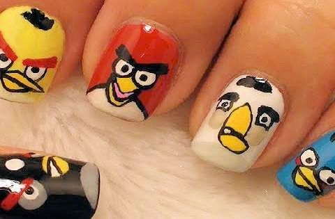 Beautiful angry bird nail design