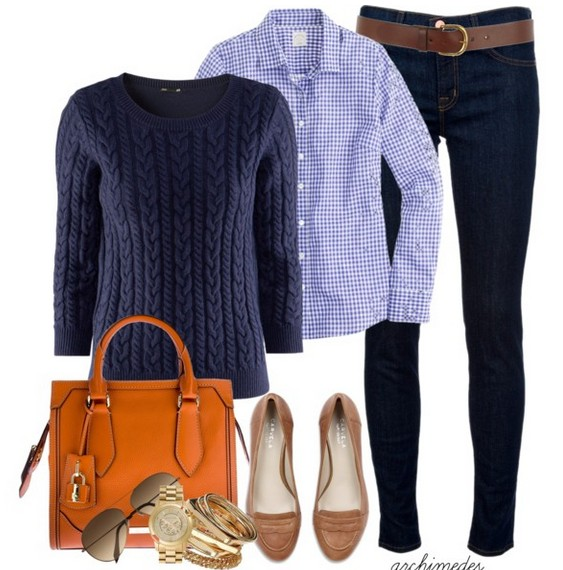 The trendy outfit idea, the blue sweater with a round neckline and the plais shirt