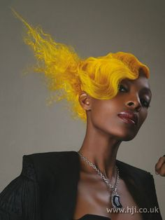 Interesting yellow hairstyle