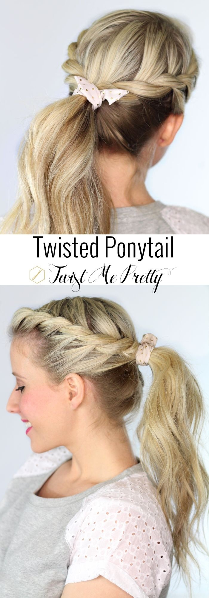 Twisted ponytail hairstyle for spring