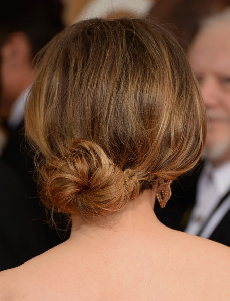 Romantic hairstyles for the bottom updo for every occasion: Julie Delpy Loose Bun