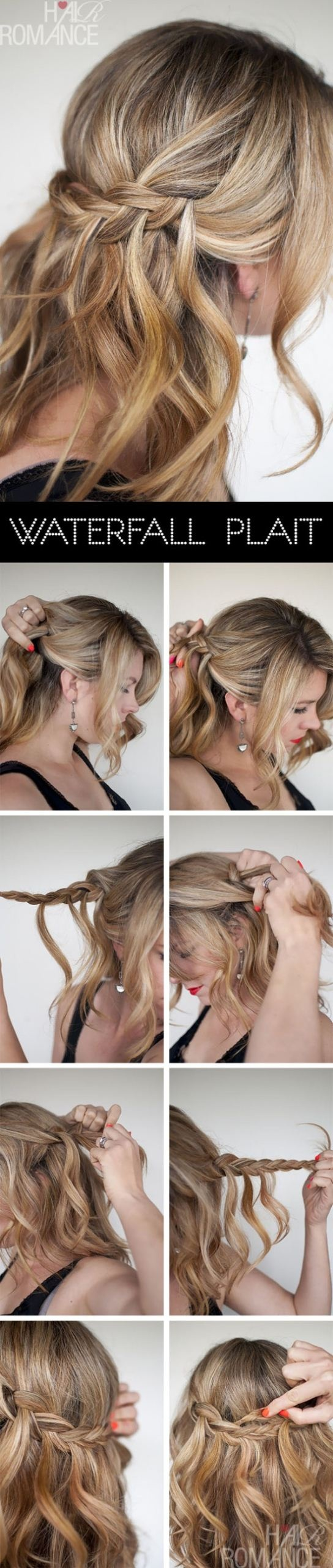 DIY waterfall braid hairstyle over