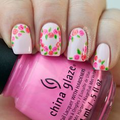 Beautiful light pink rose nail art design