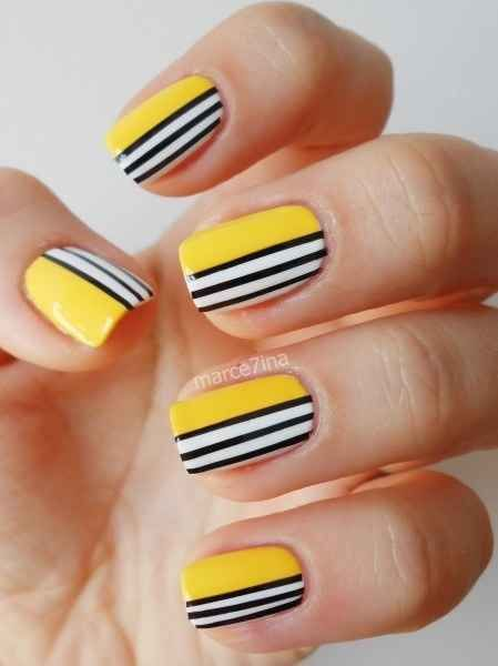 Yellow striped colored nails