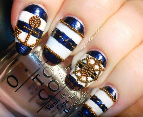 Sequins nautical nail art