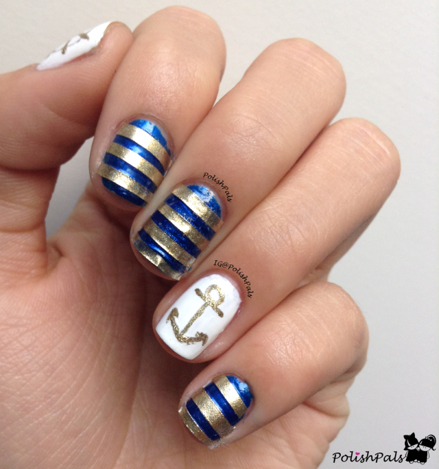 Striped nautical nail art