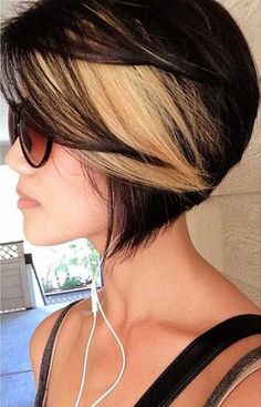 Black bob haircut with blonde highlights