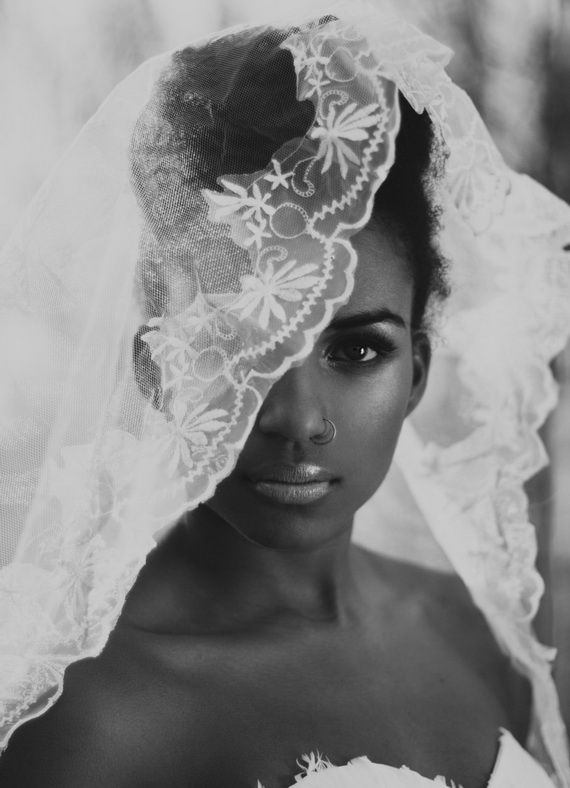 Wedding updo with veil for black women