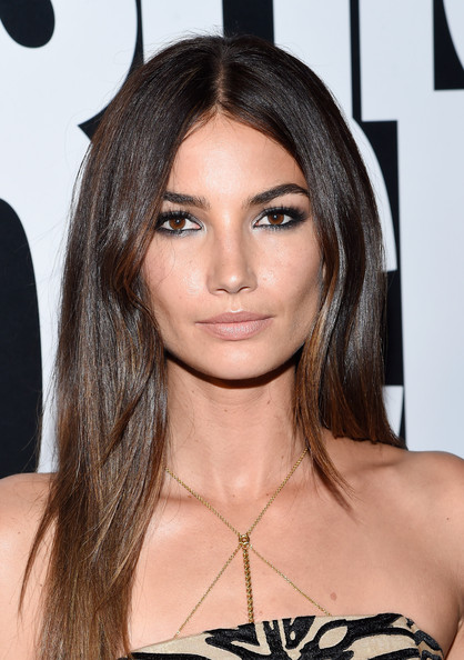 Lily Aldridge Long straight cut with smoky eyes and bare lips