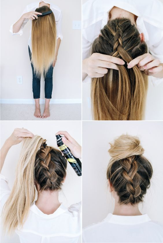 Lace-braided bun over