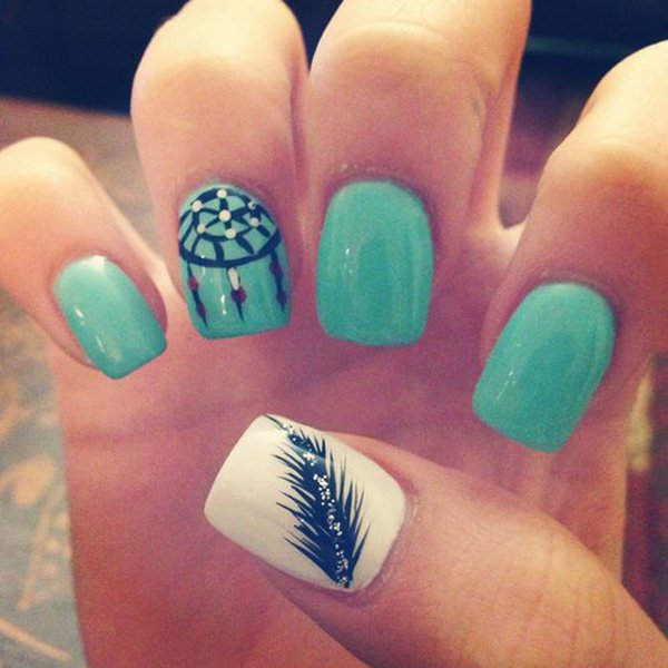 Teal feather nail design