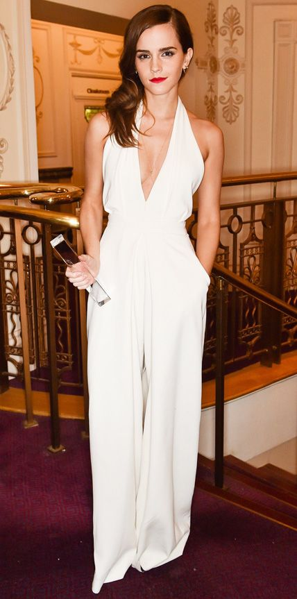 Emma Watson white jumpsuit over