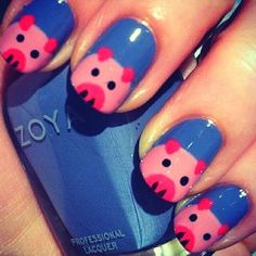 Sweet blue pig nails