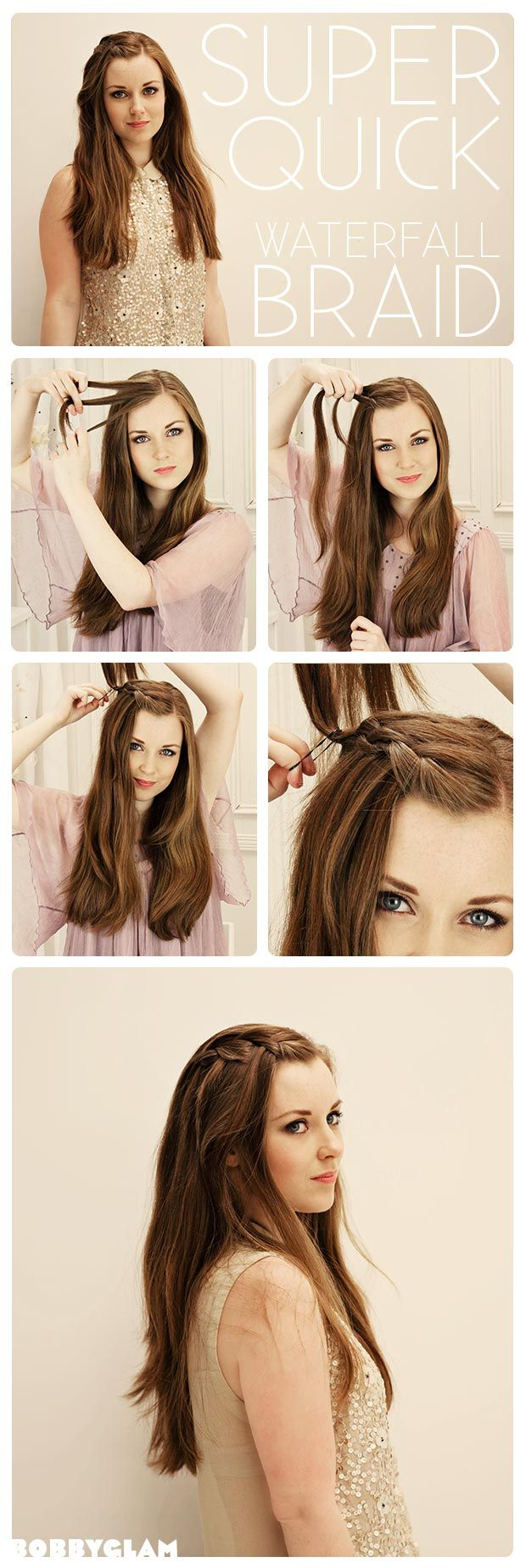 Super Quick Waterfall Braid Hairstyle Tutorial