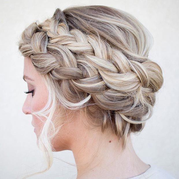 Double French braid updo