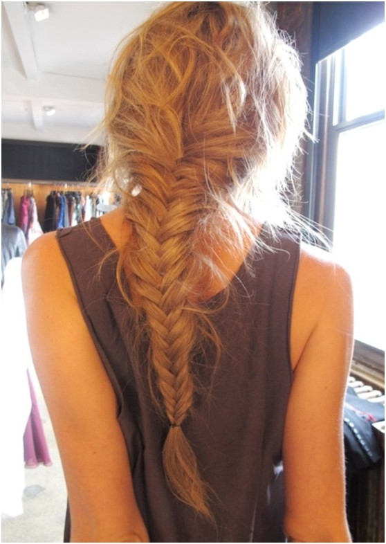 Messy braided ponytail hairstyle