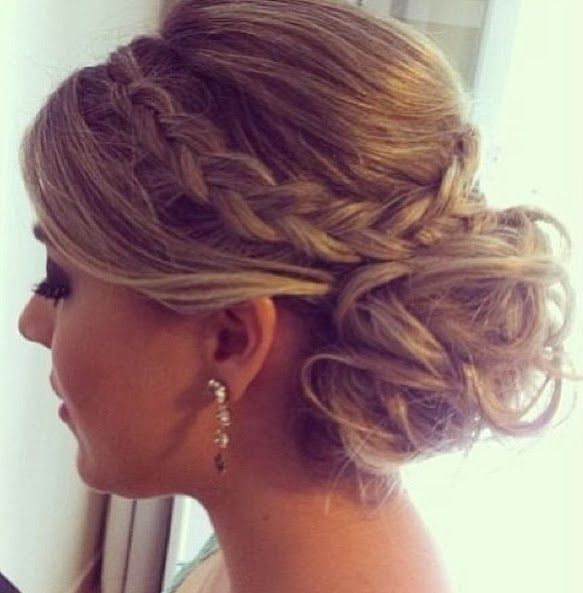 Chaotic updo with braid