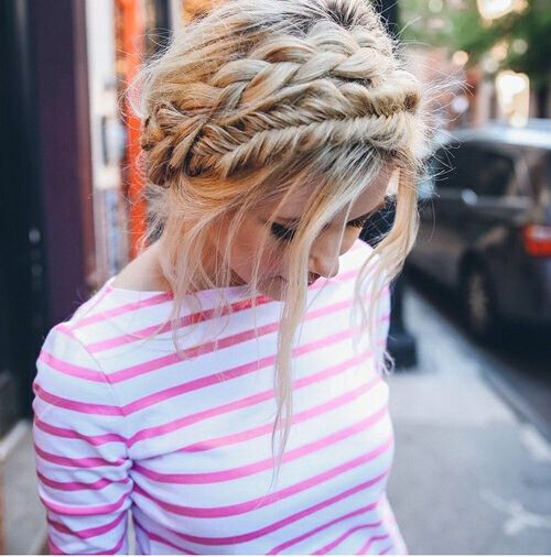 Braided updo hairstyle