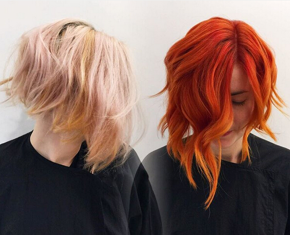 Short wavy bob hairstyle for red hair