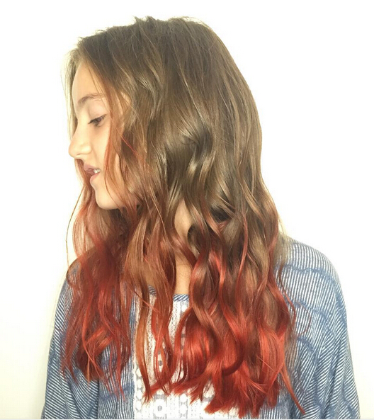 Brown to red ombre hair