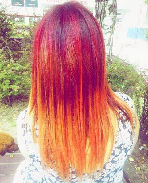 Long straight hairstyle for red hair