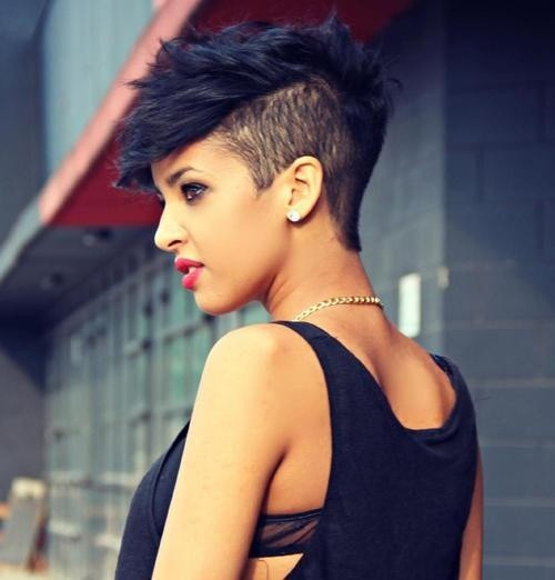 Short pixie hairstyle for African American women