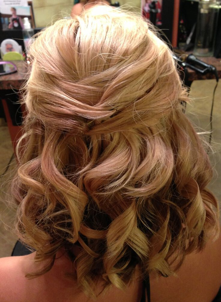 Half up wedding hairstyle for medium curly hair