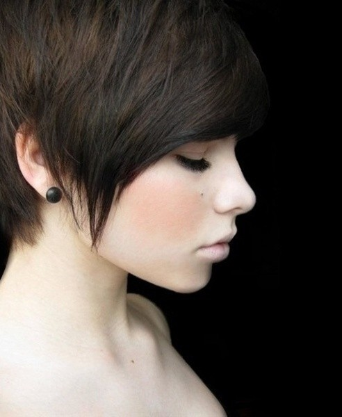 Cute straight pixie haircut for Asian girls