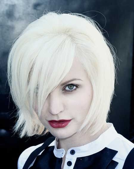 Layered bob hairstyle for light blonde hair