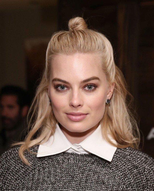 Half bun hairstyle for blonde hair