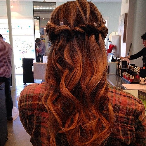 Red ombre waterfall braid