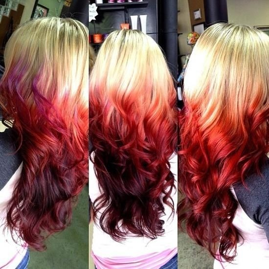Red ombre hairstyle for long hair