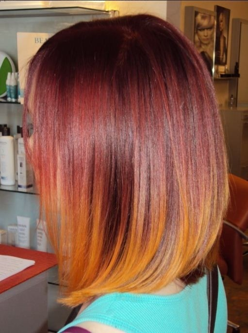 Long straight bob haircut for red ombre hair