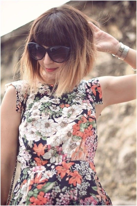 Nice short bob hairstyle with blunt bangs