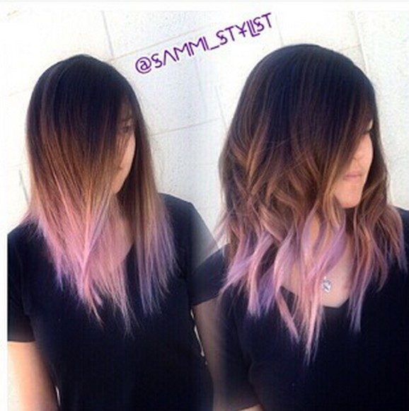 Medium wave hairstyle for ombre hair