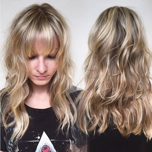 Middle layer haircut with bangs
