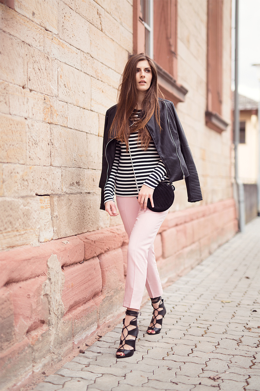 Rose quartz trousers and striped top