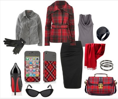 Plaid outfit for formal occasions, black jacket, black pencil dress and black pumps