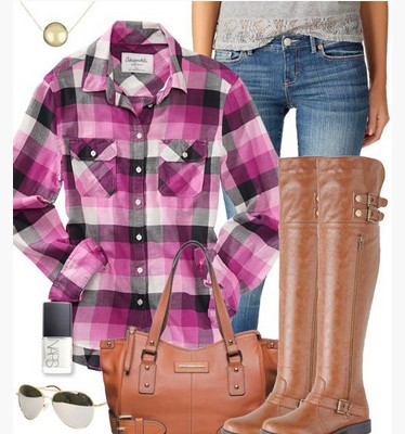 Purple check outfit, purple check shirt, jeans and knee length boots