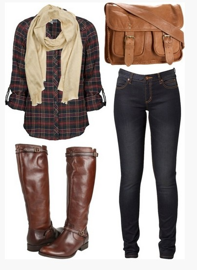 Casual checkered outfit, checkered shirt, light brown scalp, skinnies and brown knee-length boots