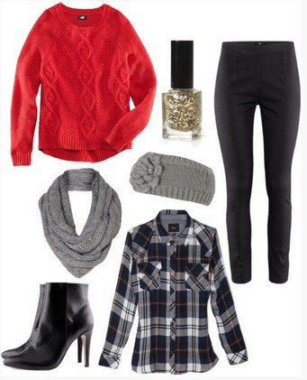 Plaid winter-autumn outfit, red sweater, plaid shirt, black leather pants and black ankle boots