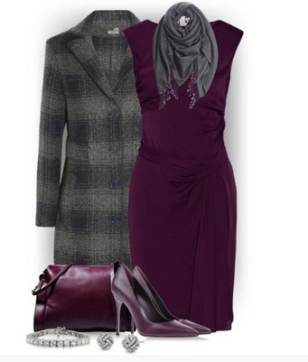 Plaid outfit for formal occasions, long plaid coat, a tight dress and purple pumps