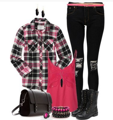Plaid outfit, plaid shirt, printed skinnies and boots