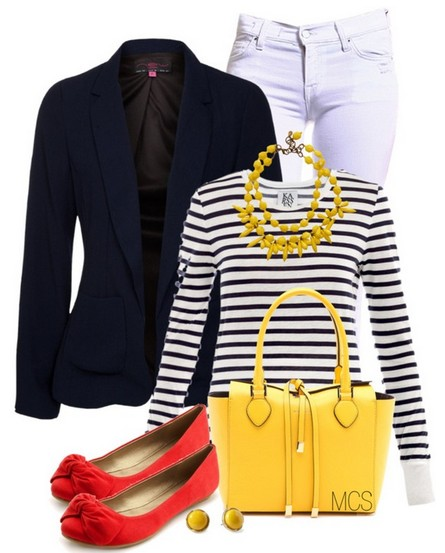 The striped sweater and flat for spring outfit ideas