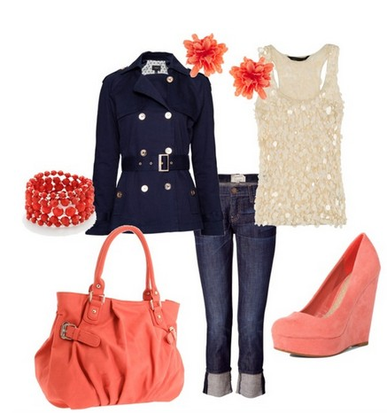 The cool jacket, skinny jeans and pink wedge for spring outfit ideas