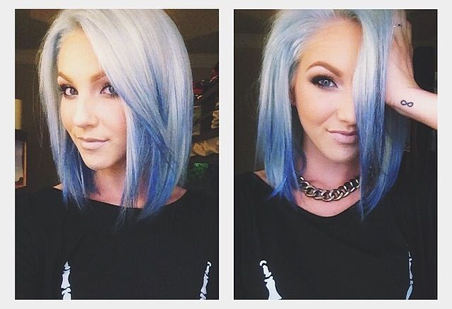 Silver to blue ombre hair